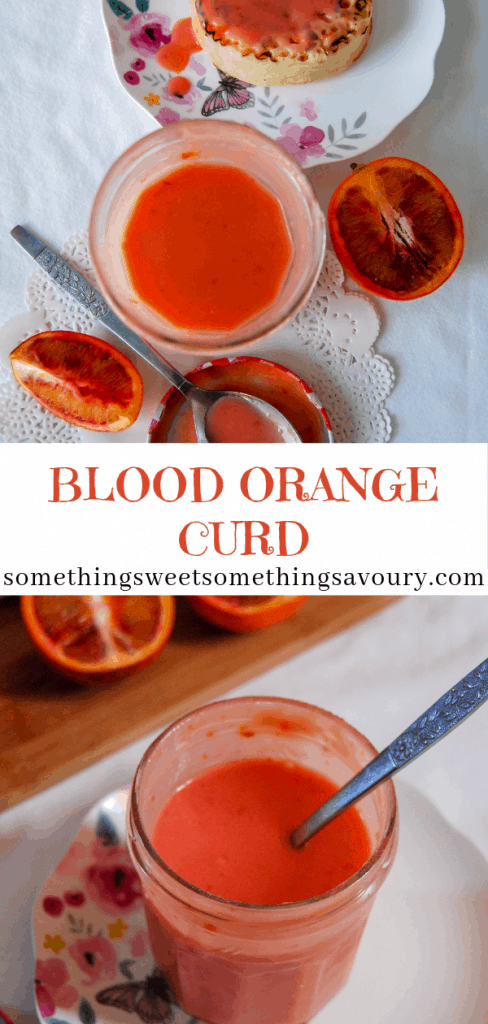 "A pinterest pin with the words ""blood orange curd"" and two pictures of a jar of orange curd on a floral plate and white tablecloth"